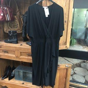 NWT Plus Size 3X Black Ruffle Wrap Dress